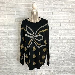 Vintage Bentley Woman Glittery Bow Sweater